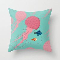 Just Keep Swimming Finding Nemo Throw Pillow by Jay Fleck
