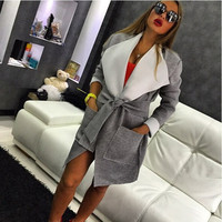 Grey Flip Collar Waist Tie Wrap Coat