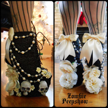 "Lace ""Salem"" Rosary Skull Boots"