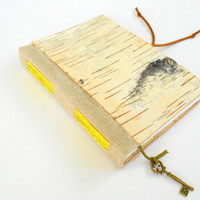 Travel sketchbook journal with birch hardcovers and key bookmark- Choose 100 or 200 pages-100% recycled- custom eco friendly travel journal