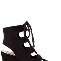 Along the Avenue Black Suede Lace-Up Wedges