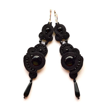 Earrings soutache Black Anniversary gift Wife Girlfriend Boucles d'oreilles pendientes orecchini ohrringe soutache bijoux Evening dress Gala