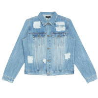 JK258 Distressed Stone Wash Denim Jacket - Light Blue Wash