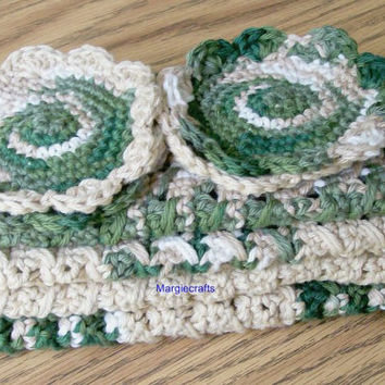 Crochet Cotton Dishcloth, Scrubbies, Handmade Facecloth, Washcloth, Spa Cloth, Kitchen Gift