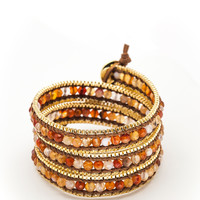 Wrap Bracelet - Brown Leather Cord | Gold Chain | Fire Agate Stones