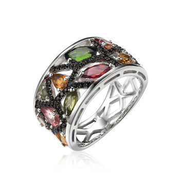 925 Sterling Silver 2.3ct Multicolor Genuine Tourmaline Black Spinel Cocktail Ring