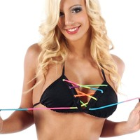 Black and Rainbow Refracted Bikini Top : Neon and UV Reactive Tri-Top