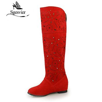 SGESVIER cheap 2017 cutout spring and summer cool high-leg boots net cow muscle outsole knitted boots plus size4-12/35-43 A137
