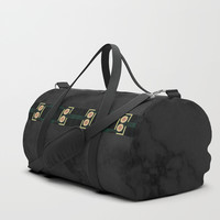 Black Gold Green Marble Mandala Abstract Duffle Bag by Sheila Wenzel