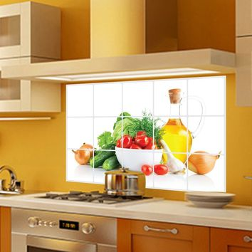 Decorations Supplies Plane Wall Sticker Art Accessories Foil Waterproof Anti Oil Stain Kitchen Wall Tile Stickers Lecythus Veget