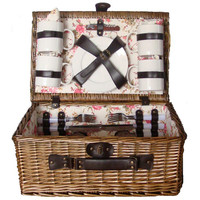 Willow picnic basket with dinner service for 4 Persons - The Sunrise Collection-B