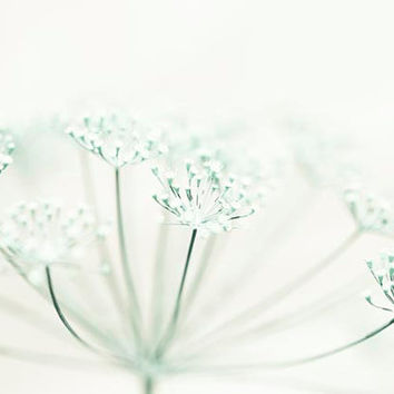 CIJ, Mint & white flower photograph minimalist, pastel nature woodland wedding green cream wall decor