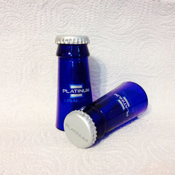 Bud Light Platinum Beer Bottle Shot Glasses. Recycled Glass Bottles. Man Cave. For Him.