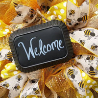 Welcome Bee Wreath Yellow  Bee Decor Welcom Baby Wreath Small Bumble Bee Wreath Yellow Nursery Bee Decor Bee Nursery Wreath Baby Shower Bee