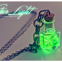 Glow in the dark Glowing Star light Glass Bottle Necklace by Vhea