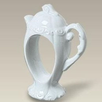 Porcelain Teapot Napkin Rings Set of 6