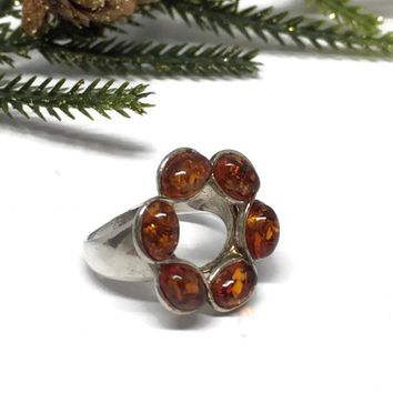 Open Circle Ring Amber Sterling Silver Size 7, Metaphysical Jewelry, Vintage Jewelry, Vintage Ring, Gift for Wife, Christmas Gift Idea