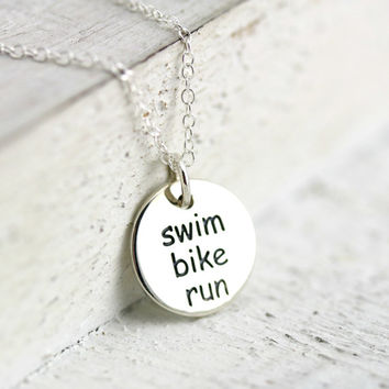 Swim Bike Run Triathlon Necklace - Sterling Silver Swim Bike Run Word Pendant - Triathlon Jewelry - Fitness Jewelry - Gift for Athlete