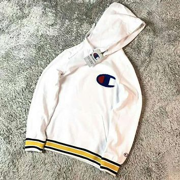 Champion Fashion Women Men Leisure Simple Stripe Print Hoodie Long Sleeve Pullover Top Sweater Sweatshirt White