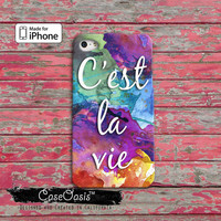 C'est La Vie Quote Watercolor Paint Splatter Custom iPhone 4 and 4s Case and iPhone 5/5s/5c Case and Wallet Case and iPhone 6 and 6 Plus +