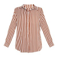 Rust Stripe Oversized Shirt