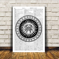 Zodiac print Occult poster Modern decor Witch art RTA148