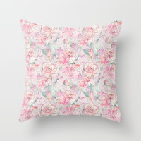 floral blush Throw Pillow by sylviacookphotography