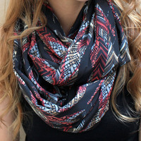 Infinity Scarf, Eternity Scarf, Circle Scarf, Feathers, Black, Raspberry, Cream, Grey, Brown