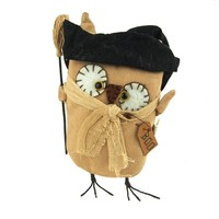 Stuffed Burlap Witch Owl Halloween Decor, Natural, 10-Inch