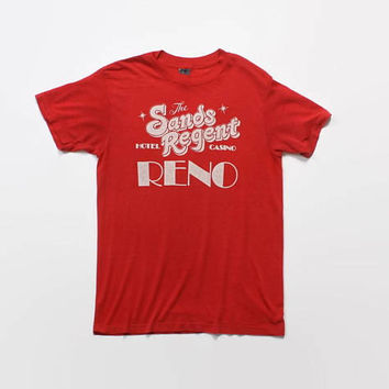 Vintage 80s Reno Casino T-Shirt / 1980s Soft Thin Burnout Sands Regent Tee Shirt S - M