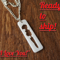 "SoundWave Pendant ""I Love You"" ~Ready to Ship~  White Acrylic Sound Wave Pendant Voicewave Gift Voice Wave Gift for Him Gift for Her"