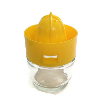 Vintage Juice Reamer-Gemco-Yellow Plastic and Glass Jar-Orange Juicer-Retro Kitchenware-Citrus-Mid Century Juicer