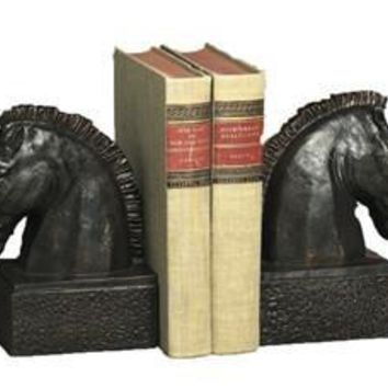 Bronzed Iron Horsehead Bookends