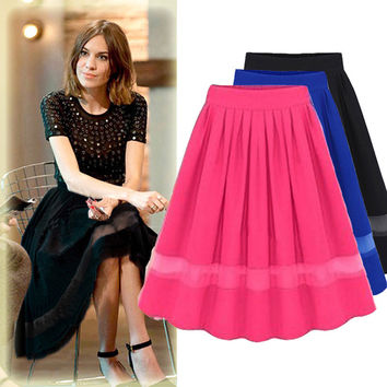 Organza Patchwork Pleated Skirt Chiffon Skirt 2017 Spring Skirts Womens Solid Mid-Calf Elastic Waist Hollow Out Jupe Midi Skirt