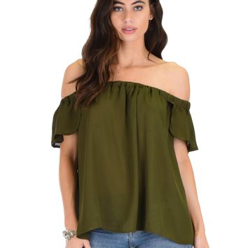 Lyss Loo Sunny Honey Off The Shoulder Sheer Olive Blouse Top