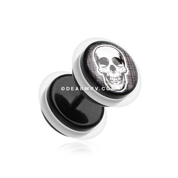A Pair of Death Skull Acrylic Fake Gauge Plug Earring
