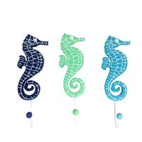 Seahorse Wall Hooks - Set of 3 - Blue,Aqua and Green Hangers for Coats, Aprons, Hats, Towels, Pot Holders