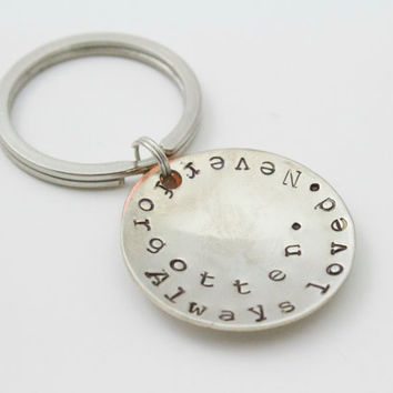 Personalized Pet Remembrance Stamped Keychain - Always Loved, Never Forgotten, Paw Print, Dog