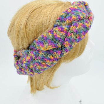 Colorful Braided headband for women, Crochet Earwarmer, Headwrap, Winter Ear Cover, Head Band