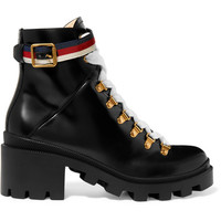 Gucci - Grosgrain-trimmed leather ankle boots