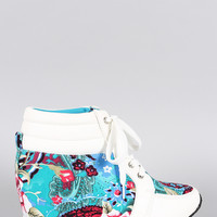 Floral Round Toe High Top Wedge Sneaker