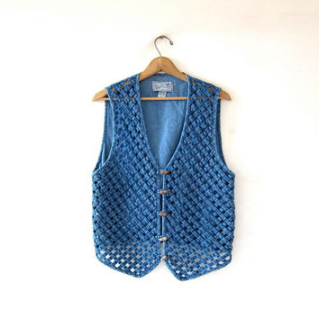 Vintage woven jean vest. denim toggle vest. cutwork vest.