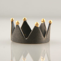 Black Crown Ring Sterlig Silver (925)