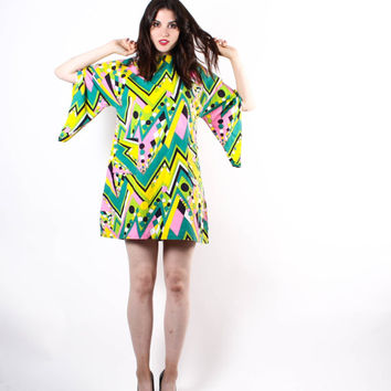 Mod 60s Psychedelic Neon Tent Dress - Short 60s Dresses - 60s Neon Dress - The Valley of the Dolls Dress - 6127