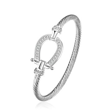 lureme Lucky Horseshoe Bangle Crystal and Silver Western Jewelry Good Luck Charm for Horse Lover Girls Women Teen 06002865