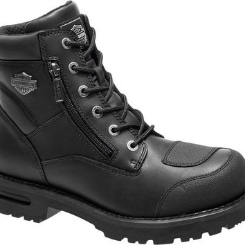 Harley-Davidson® Mens Renshaw Abrasion Resistant Black Leather Low Cut Boot - D96136