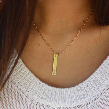 Single Custom Hand Stamped Greek Sorority Vertical Gold Bar Necklace