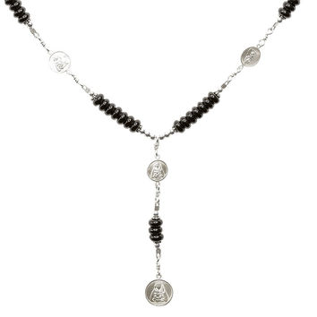 Sterling Silver 7 Sorrows Rosary 6mm Onyx Necklace with 7 Sorrows Medal Set