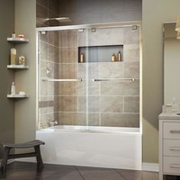 DreamLine Encore 56 in. to 60 in. x 58 in. Framed Bypass Tub Door in Chrome-SHDR-1660580-01 - The Home Depot