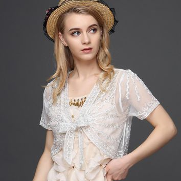 Summer Women Basic Coat V Neck Short Sleeve Knitted Casual Cardigans With Belt Mesh Embroidery Lace Shrug Bolero Shawl